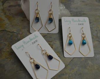 Diamond Shaped Gemstone Earrings