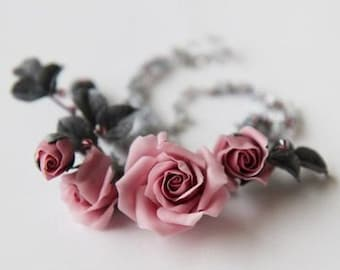 Pale rose floral necklace Dusty pink beads chrystal jewelry  Refined necklace Mauve and gray leaves  Romantic Wedding