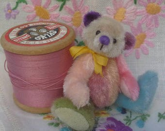 SOLD *Spring pastels a miniature teddy bear