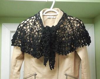 Clearance Sale Crocheted Shawl, Black Shawl, Lacy Shawl