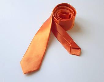 Men's Orange Neck Tie, Men's Neck Tie, Skinny Neck tie, Wedding Tie, Grooms Tie