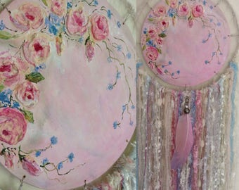 HAND PAINTED Shabby Vintage Nursery Bedroom Dream Catcher Wall Hanging
