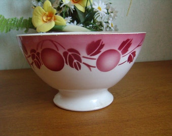 lovely large bowl, latte of France, Ironstone French Shabby Vintage, Bowl XL, with little damage, pink décor, midcentury
