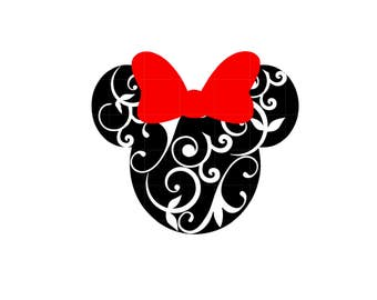 IRON ON Minnie Mouse Flourished or Minnie Mouse Sticker