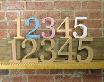 """15cm/6"""" Wooden Table Numbers Free Standing painted or unpainted"""