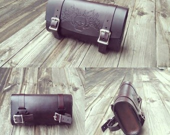 Leather Motorcycle tool bag, men, biker, custom made, genuine, skull