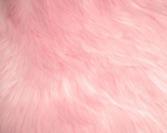 """Pink Luxury Long Pile Faux Shaggy Fur Fabric - Sold By The Yard - 60"""""""