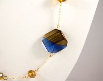 Dark Blue and Gold Beaded Necklace - Blue Necklace - Gold Necklace