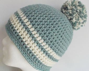beanie, crochet hat, wooly hat, with pompon, blue-gray with woolwhite