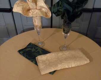 Damask Tablecloth in oval,rectangle,square,round and napkins in 8 colors Made in USA custom sizes available