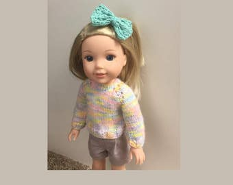 Wellie Wishers Rainbow Colors Hand Knit Sweater