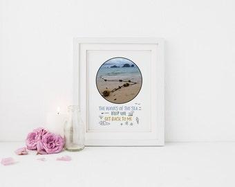 Teal Beach Decor, Modern Beach Print, Costal Decor, Motivational Poster, Personal Quote, Sweet Apartment, Wall Art Print, Beach Download