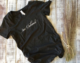 RAW AND REDEEMED calligraphy T-Shirt (ladies cut)
