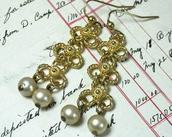 1970s Les Bernard Gold Plated Vintage Pearl Dangle Earrings