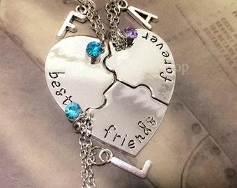 Best Friends Forever 3 Piece Puzzle Necklace Set, Love Crystal,Three Necklace Set, Best Friend Jewelry, Heart Puzzle Necklaces