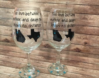 The Love Between A Mother And Daughter Knows No Distance Wine Glass Set