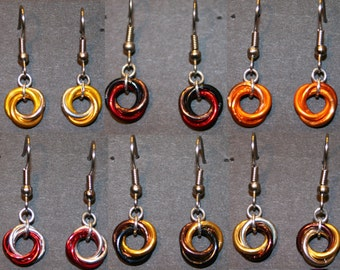 Colorful Mobius Earrings- Warm Colors
