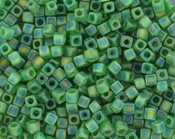 15 grams of beads Miyuki Cubes 1.8 mm transparent green AB Mat