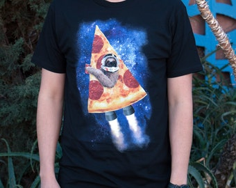 Pizza Rocket Sloth (WTE0133-501BLK) Men's T-Shirt. sloth, pizza, space, galaxy, funny animal tees, weird, mythical creatures, rocket ship