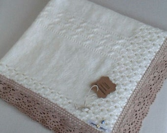 Baby blanket with lace , hand knitting