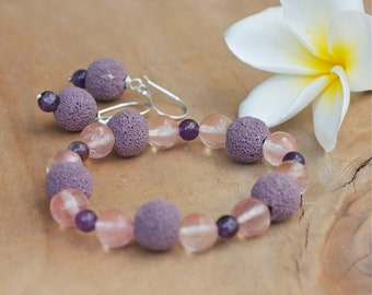 Diffuser bracelet, Bracelet earring set, Purple lava stone rock bracelet, Essential oil bracelet, Sterling silver hook Stretch Yoga bracelet