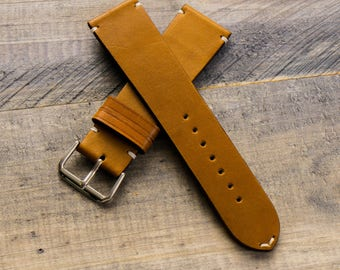Leather watch strap Personalize leather watch band Vegetable tanned leather watch strap 18 mm 20 mm watch band 22 mm 24 mm watch strap