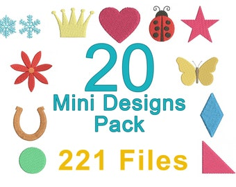 20 Mini Machine Embroidery Designs Pack