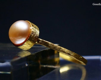 Gold and Silver Pearl Ring, size 6 1/4 and 7 3/4
