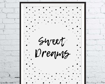 Sweet Dreams typography stars kids bedroom home decor poster art cute hand written monochrome simplistic graphics trend calm modern