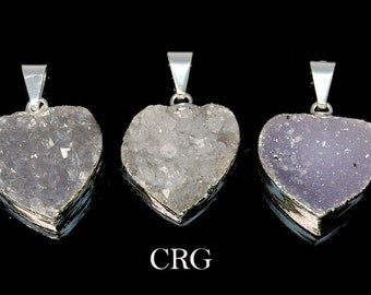 Silver Plated Light Crystal Druzy Heart Pendant 20mm (DR25CN-B)