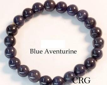 Round 7-8mm BLUE AVENTURINE Beads Stretch Bracelet (BR12DG)