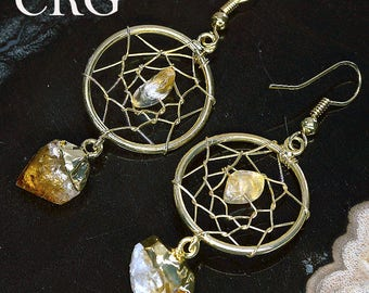 Gold Plated Dream Catcher Earrings with Citrine Point (ER70BT)