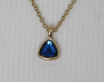 Blue Triangles Earrings Necklace