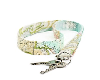 Map Lanyard, Badge Holder, Key Lanyard, Id Holder, Teacher gift, Map wristlet, Keychain, Key swivel, World map key holder, Neck strap