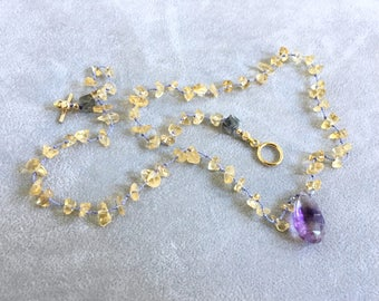 Hand Knoted gemstone II -Rare Moss Amethyst, Blue Flash Labradorite, Gold Filled Beads - Ready to Ship
