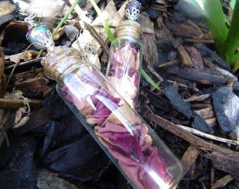 Red Rose Petal bottle charm/pendant