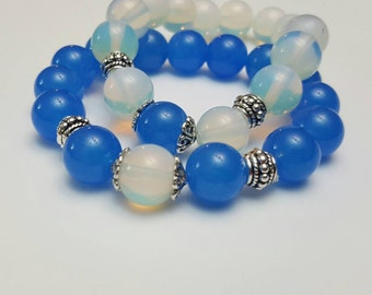 Blue white Couple bracelet set, You and Me bracelets, Friendship beaded bracelets, Healing bracelet, His and her bracelet, Gifts for couples