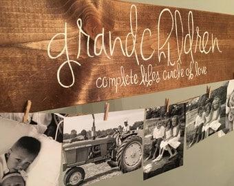 GRANDCHILDREN photo holder display wood sign GRANDPARENT GIFT