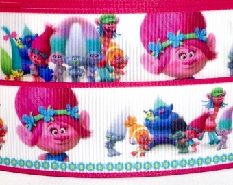 "Trolls 1"" Grosgrain Ribbon - Trolls Ribbon - 3 yards Trolls Grosgrain Ribbon - 1"" Trolls Ribbon - 3 yards 1"" Trolls Ribbon"