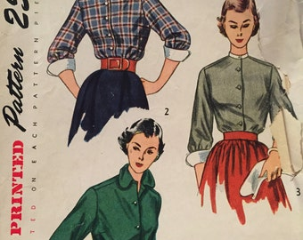 Classic 1950's Blouse Pattern---Simplicity 3301---Size 14  Bust 32