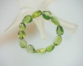 Natural Green Caribbean Amber ( Copal ) Bracelet - Genuine Copal Nugget Stretch Bracelet - Handcrafted Jewelry