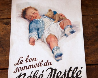 2 vintage Nestle Baby Magazine Ads - 1930s - Shabby Chic Decor - Free Shipping Within the USA
