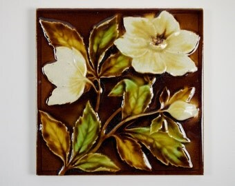 Antique 1890s Sherwin and Cotton Victorian dog rose flower tile