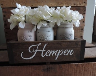 Rustic Planter Box With Distressed Mason Jars, Personalized Family Name Decor, Personalized Gift, Friend Gift