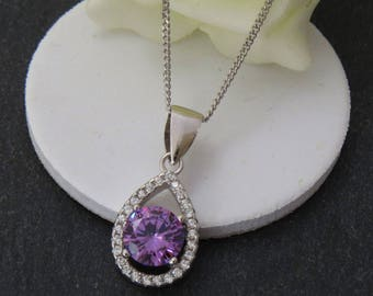 Amethyst Pendant, Amethyst Necklace, Silver Amethyst Jewelry, February Birthstone Necklace, Amethyst Gift For Her,