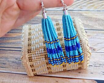 Turquoise tassel earrings, Blue beaded tassel earrings, beaded earrings