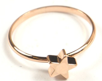 Dainty Rose Gold Star Ring