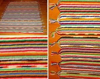 Old handmade afghan-Vintage hand knit blanket-Beautiful afghan rug-Yarn knit throw-Hand made blanket-Large afghan 74 x 54