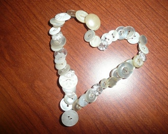 Metal Heart Shape Wire Embellished With Shades Of White Buttons Some Vintage