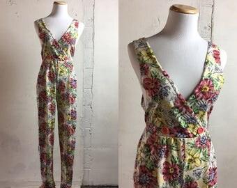 Vintage Floral Jumpsuit | S small | 1980's